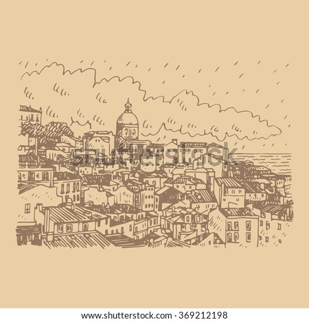 Cityscape of Lisbon, Portugal. View of Alfama, the oldest district of the city with the National Pantheon Dome. Vector freehand pencil sketch. - stock vector