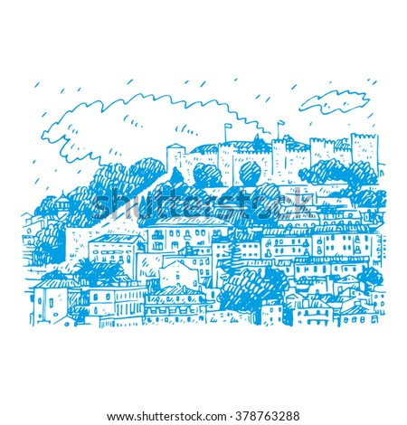 Cityscape of Lisbon, Portugal. View of Sao Jorge Castle at the top of the mountain. Vector hand drawn sketch.