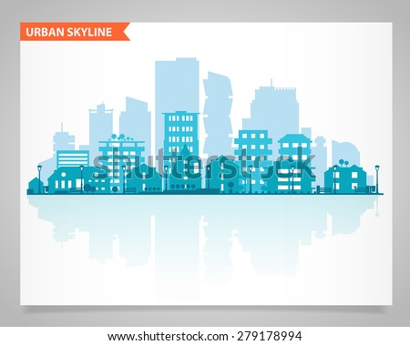 Cityscape set with various parts of a city: small towns or suburbs and downtown silhouettes - stock vector