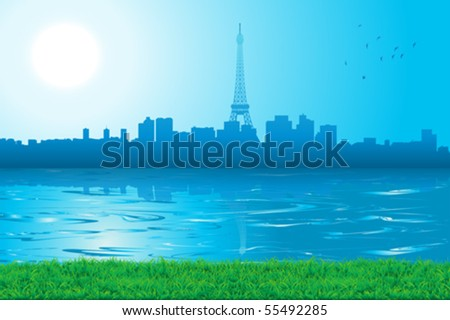 cityscape skyline paris in a sunny day - stock vector