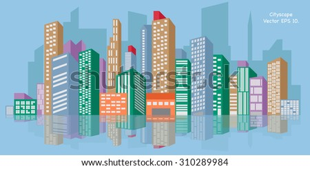 Cityscape, Vector Illustration EPS 10. - stock vector