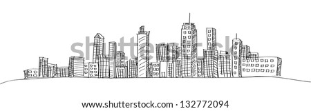 Cityscape Vector Illustration Line Sketched Up, EPS 10. - stock vector