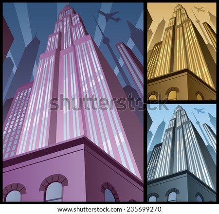 Cityscape Vertical 2: Cartoon city in 3 color variations. Basic (linear) gradients used. No transparency. A4 proportions. - stock vector