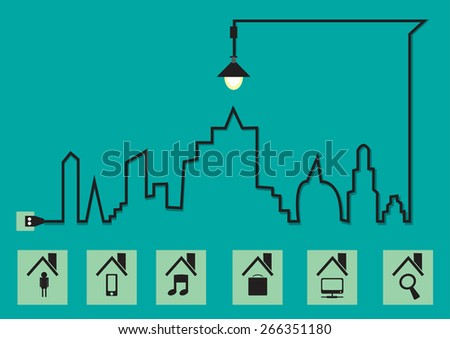Cityscape with creative wire light bulb idea concept, Abstract modern design template , Vector illustration template design - stock vector