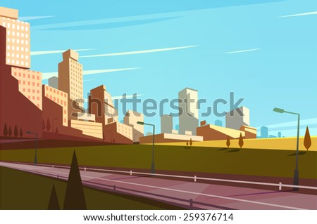 Cityscape with highway. Vector illustration. - stock vector