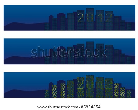 cityscape with 2012 in windows - stock vector