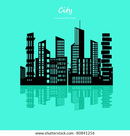 Cityscape with Reflection. Vector Illustration - stock vector