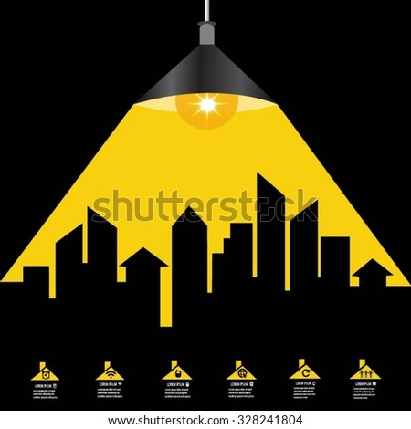 Cityscape with wire light bulb idea - stock vector
