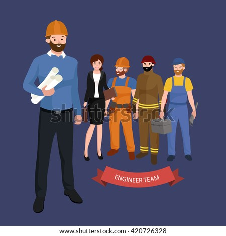 Civil engineer, architect and construction workers group of people - stock vector