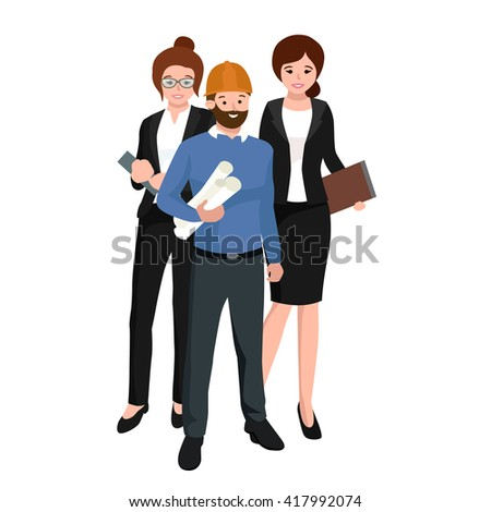 Civil engineer, architect and construction workers group. Workers people - stock vector