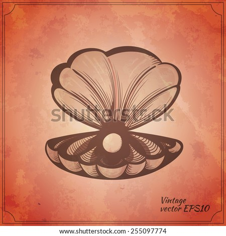 clam with the pearl vintage vector illustration - stock vector