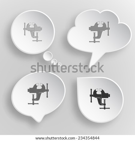 Clamp. White flat vector buttons on gray background. - stock vector