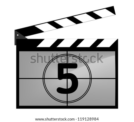 Clap board with countdown - stock vector