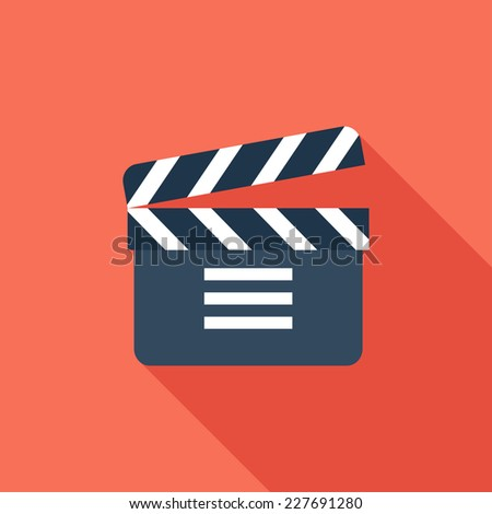 Clapboard flat icon. Modern flat icons with long shadow effect in stylish colors. Icons for Web and Mobile Application. EPS 10. - stock vector