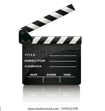 Clapper board isolated on white background - stock vector