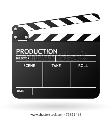 Clapper board on white background, vector EPS 8 - stock vector