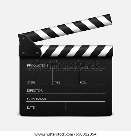 Clapper board on white background. Vector illustration.