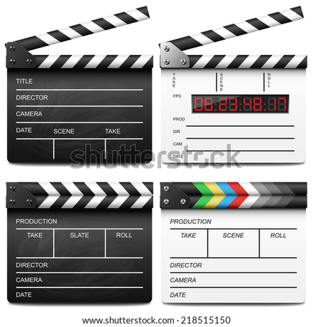 Clapper board set - stock vector
