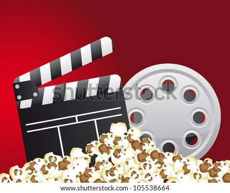 clapper board with film stripe and popcorn. vector illustration - stock vector