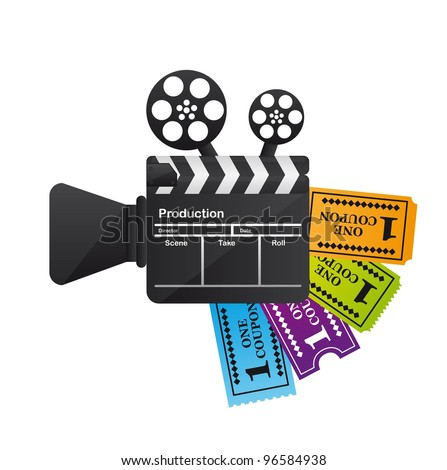 clapper board with tickets isolated over white background. vector - stock vector