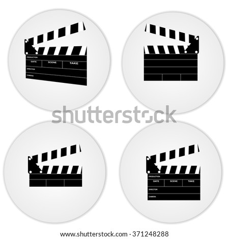 Clapper boards in a circle with shadow - stock vector