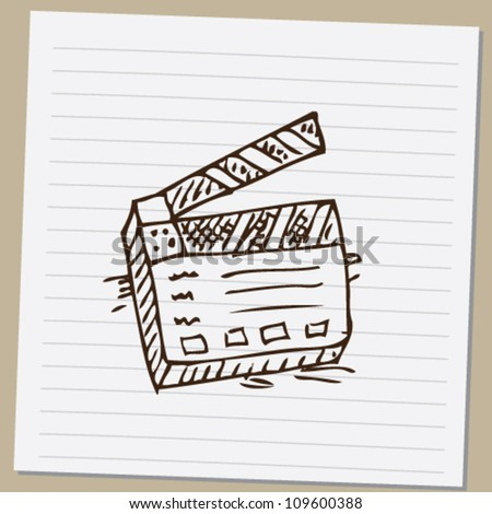 clapperboard doodle  vector illustration - stock vector