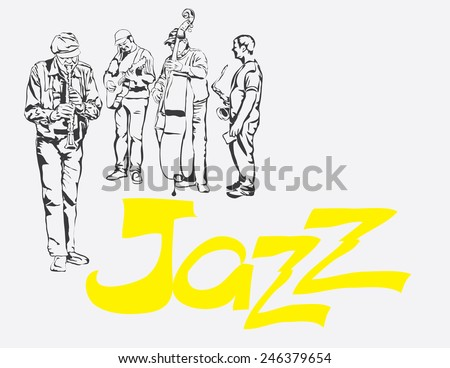 clarinet guitar saxophone contrabass jazz rock band vector illustration - stock vector