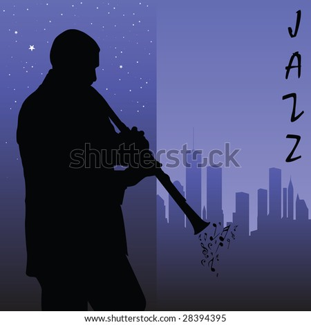 clarinet player - stock vector