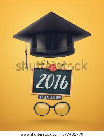 Class of 2016, graduation, eps 10 - stock vector