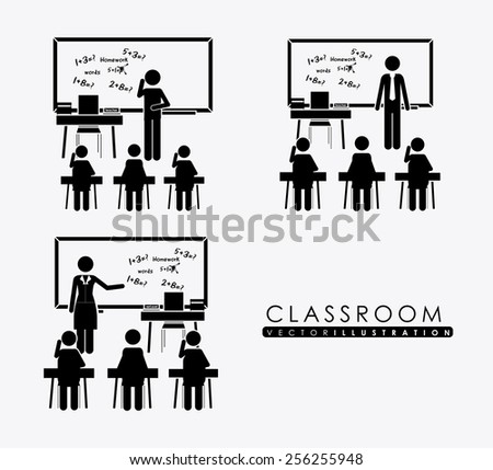 class room, design over, white background, vector illustration. - stock vector