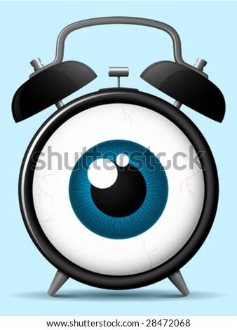 Classic alarm clock with staring eyeball  - vector - stock vector