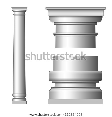 Classic Ancient Column. Vector illustration on white - stock vector