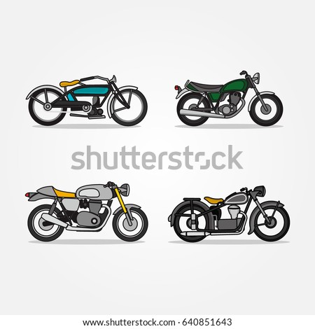 Classic And Modern Of Motorcycles Scooters Icons Set In Flat Style Design Vector Illustrations