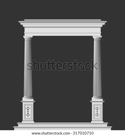 Classic arch on gray background - stock vector