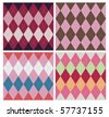 Classic argyle pattern in four color schemes. - stock vector