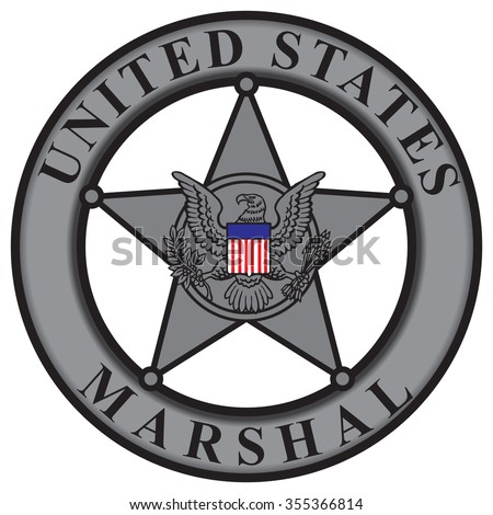 Classic badge United States Marshal. Vector illustration. - stock vector