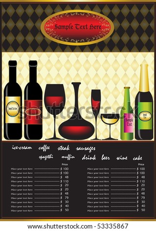 Classic bar menu. Winery menu project - stock vector