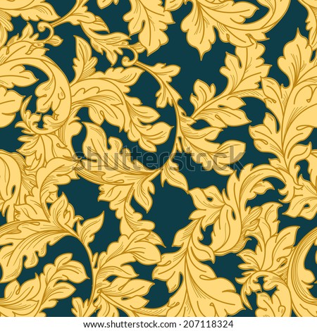 Classic baroque floral seamless pattern. - stock vector