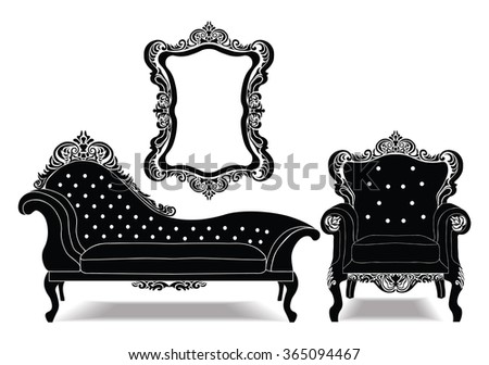 Classic Baroque royal set with luxurious ornaments . Vector sketch