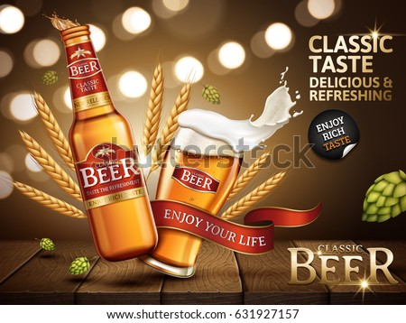 classic beer ad contained in bottle and glass, with bright red labels stuck on, 3d illustration