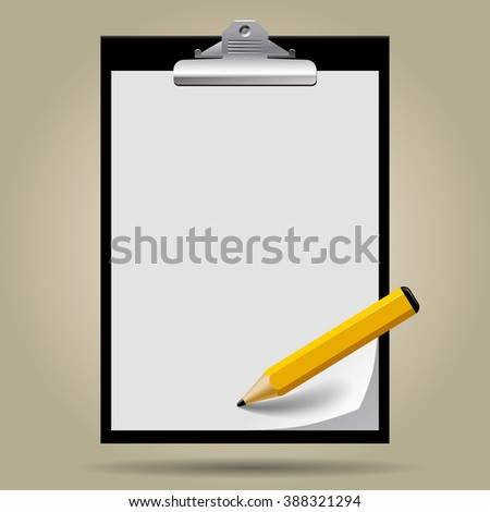 Classic black clipboard with paper blank and pencil on background. Vector Illustration