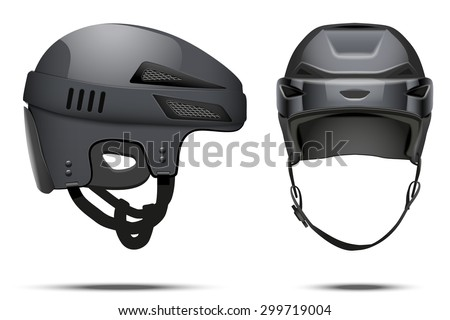 Classic black Hockey Helmet. Front and side view. Sports Vector illustration isolated on white background.