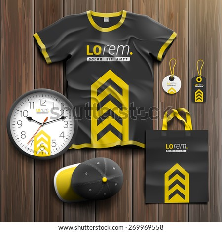 Classic black promotional souvenirs design for corporate identity with central yellow arrow. Stationery set - stock vector