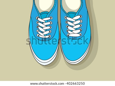 Classic blue sneakers. The front part of a pair of new sneakers hanging on the wall. Vector. Stock illustration - stock vector