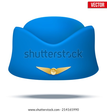 Classic Blue Stewardess hat forage cap of air hostess uniform. Civil aviation and air transport. Vector Illustration isolated on white background. - stock vector