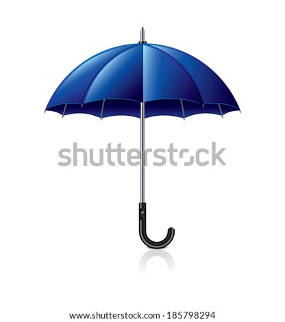 Classic blue umbrella isolated on white photo-realistic vector illustration