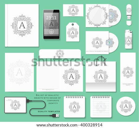 Classic branding. Business corporate style in white color. Realistic stationery template warnings. Corporate branding design.  Standalone mockup. - stock vector