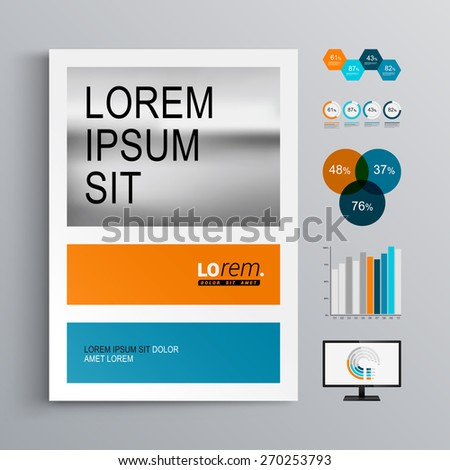 Classic brochure template design with blue and orange shapes. Cover layout and infographics