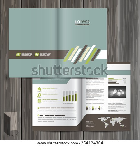 Classic brochure template design with brown and green diagonal elements. Cover layout - stock vector
