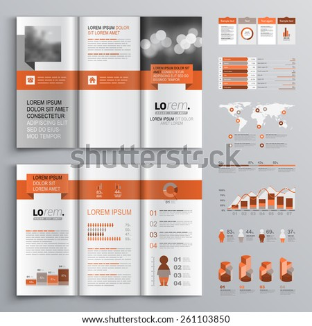 Classic brochure template design with red geometric stripe. Cover layout and infographics - stock vector